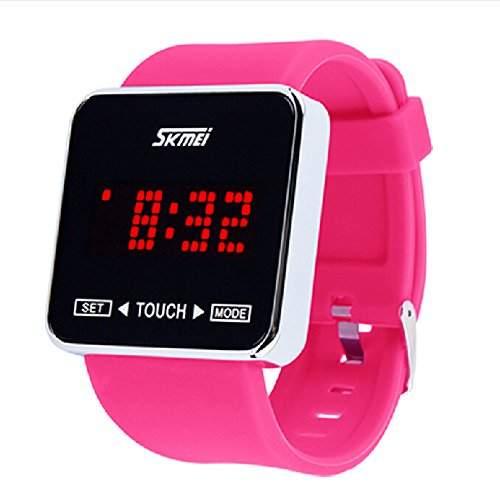 R-timer SKMEI Screen-Digital-LED Wasserdicht Jungen Maedchen Sport-beilaeufige Armbanduhren Rose Red
