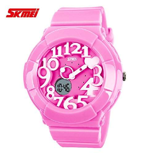 R-timer Die SKMEI Kreative Kid Suessigkeit-Farben-nette 3D Dual-Display-Design-Rubber Band-Quarz-Armbanduhr - Pink