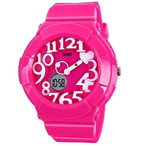 R-timer SKMEI Creative Kids Suessigkeit-Farben-nette 3D Dual-Display-Design-Rubber Band-Quarz-Armbanduhr - Rose