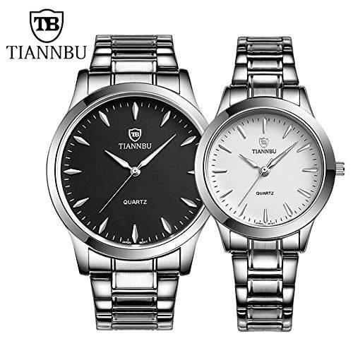 R-timer Tiannbu Marke Luminous Analog-Anzeige Edelstahl-Band-Liebhaber Armbanduhren 2er-Set TB0073