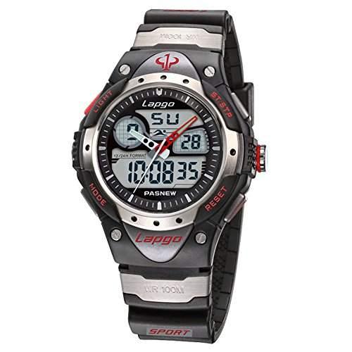 R-timer PASNEW Highquality Wasserdichte Fashional Dual Time-Jungen-Maedchen-Sport-Uhr Schwarz N4