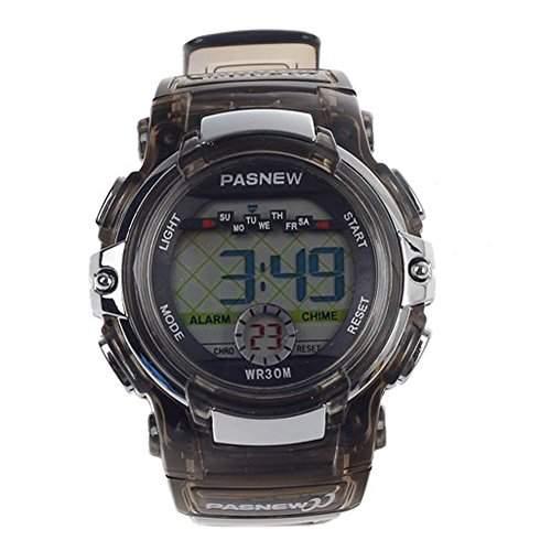 R-timer Pasnew Nette LED Wasserdichte Sport Digital-Armbanduhr fuer Teen Maedchen Jungen Black Transparent