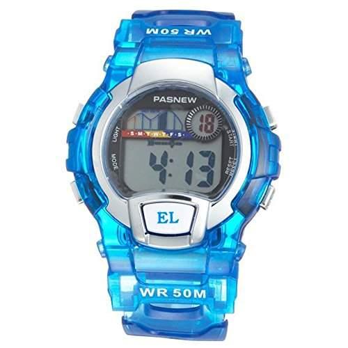 R-timer PASNEW Water Resistant Swimming Led-Digital-Sport-Uhr fuer Jungen Maedchen Blau