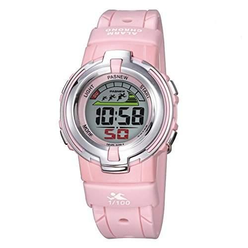R-timer PASNEW Laessige wasserdichte Sport-Digital-Armbanduhr-Hintergrundbeleuchtung Stoppuhr Alarm fuer Maedchen Jungen Pink