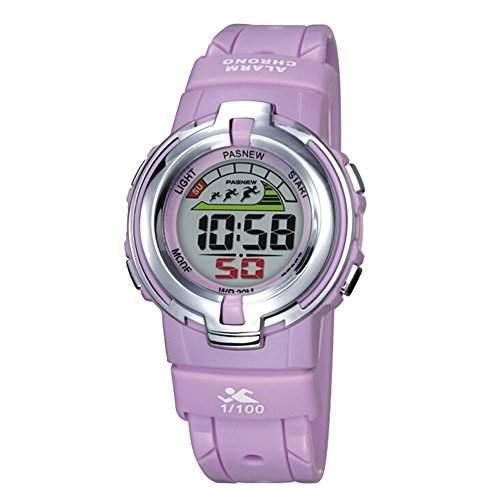R-timer PASNEW Laessige wasserdichte Sport-Digital-Armbanduhr-Hintergrundbeleuchtung Stoppuhr Alarm fuer Maedchen Jungen lila