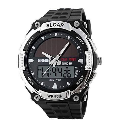 R-timer Fashion Sport Herren Solar Powered Analog - Digital-Anzeige zweier Zeitzonen Armbanduhr Silber