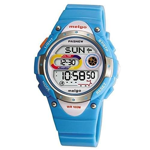 R-timer Pasnew LED Wasserdicht 100m Sports Digitaluhr fuer Kinder Maedchen Jungen blau