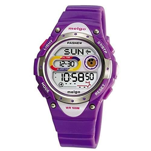 R-timer Pasnew LED Wasserdicht 100m Sports Digitaluhr fuer Kinder Maedchen Jungen Purple