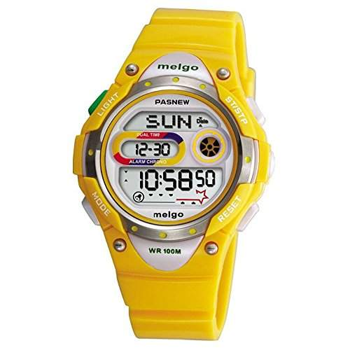 R-timer Pasnew LED Wasserdicht 100m Sports Digitaluhr fuer Kinder Maedchen Jungen Yellow