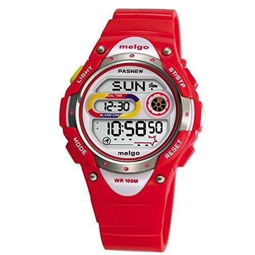 R-timer Pasnew LED Wasserdicht 100m Sports Digitaluhr fuer Kinder Maedchen Jungen Red