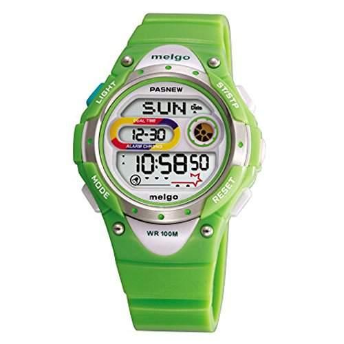 R-timer Pasnew LED Wasserdicht 100m Sports Digitaluhr fuer Kinder Maedchen Jungen Green