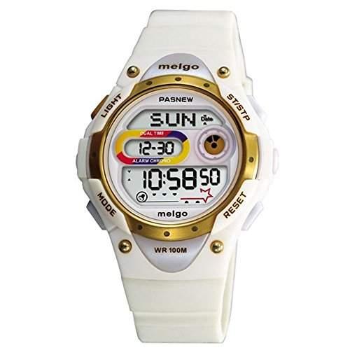 R-timer Pasnew LED Wasserdicht 100m Sports Digitaluhr fuer Kinder Maedchen Jungen White