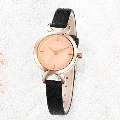 R-timer HYJ Frauen-Armbanduhren H346 Quarz Analog Leder Kleid beilaeufige klassische Uhr-Schwarz-