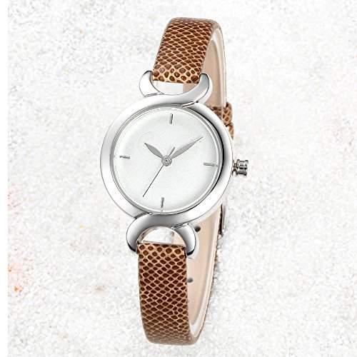 R-timer HYJ Frauen-Armbanduhren H346 Quarz Analog Leder-beilaeufige Kleid-klassisches Uhr-Brown