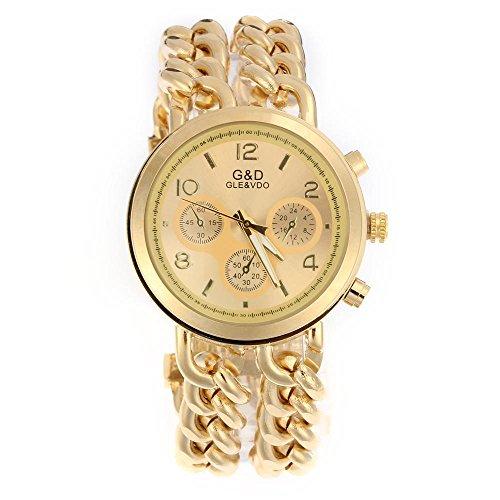 FACILLA Damen Modeuhr Armbanduhr Armreifen Armkette Uhr Damenuhr Gold Charms