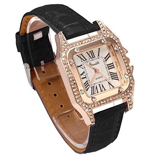 FACILLA Armbanduhr Damenarmbanduhr Quarzuhr Watch mit Strass Schwarz