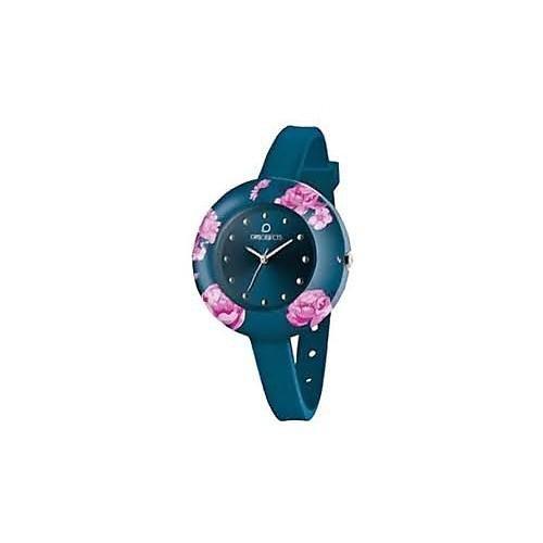OPSOBJECTS OPS FLOWER WATCHES Armbanduhr Uhrarmband Uhrband blau dunkelblau pink silber