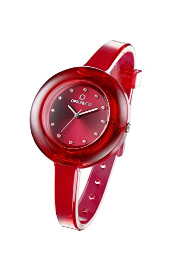 OPSOBJECTS OPS NUDE WATCHES Armbanduhr Uhrarmband Uhrband rot transparent silber