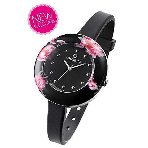 OPSOBJECTS · OPS!FLOWER WATCHES · Armbanduhr | Uhrarmband | Uhrband · schwarz pink silber