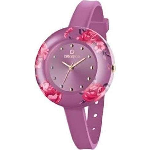 OPSOBJECTS · OPS!FLOWER WATCHES · Armbanduhr | Uhrarmband | Uhrband · lila violett pink silber