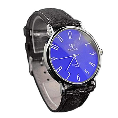 Sannysis Luxus Mens Business-Leder Blue Ray Glas Quartz Analog Uhrenschwarz