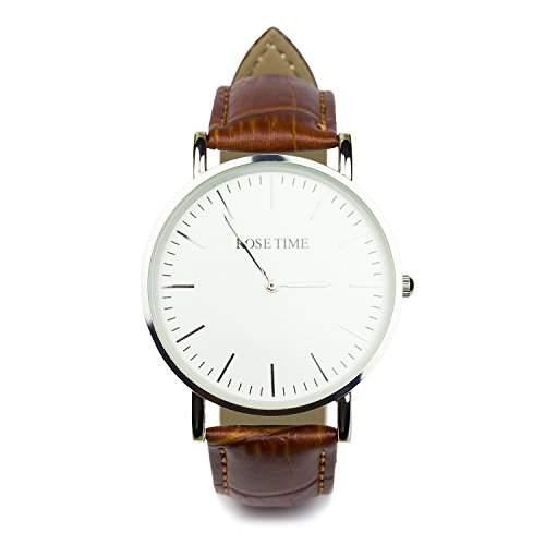 Rose Time Unisex Leder Armbanduhr Silber Braun