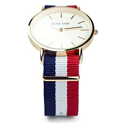 Rose Time Unisex Nato Strap Armbanduhr Rose Gold Blau Weiss Rot
