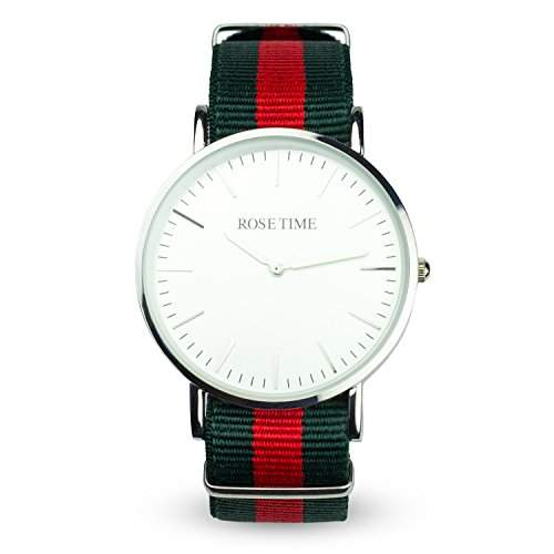 Rose Time Unisex Nato Strap Armbanduhr Silber Gruen Rot