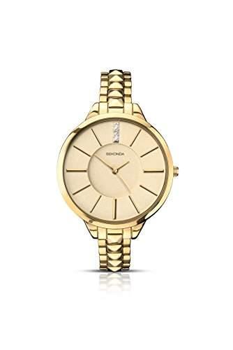 Sekonda Editions Gold Zifferblatt Gold Edelstahl Armband Damen-Armbanduhr 2014