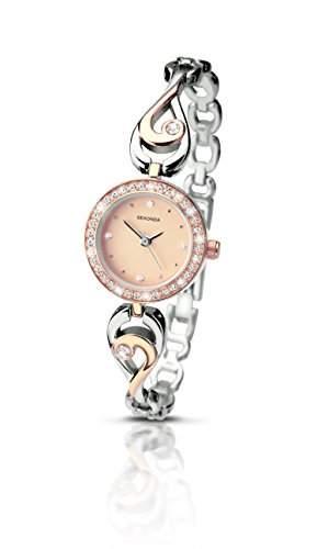 Sekonda Damen-Armbanduhr Analog Quarz rotgoldenes Zifferblatt mehrfarbiges Armband 210527