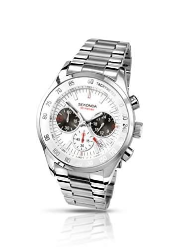 Sekonda Herren-Armbanduhr Chronograph Edelstahl silber 341827