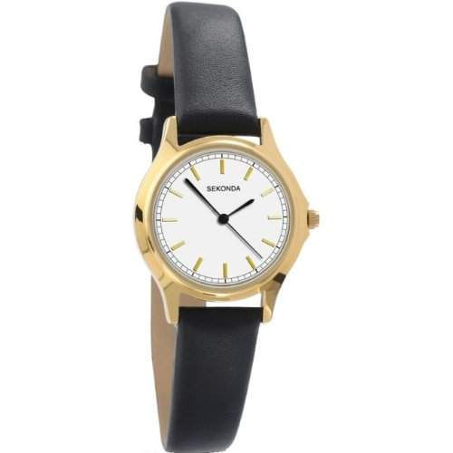 Sekonda Ladies Gold Tone Watch with Black Leather Strap
