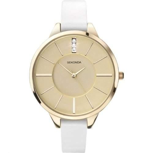 Sekonda Damen-Armbanduhr Goldfarbig mit weiss Lederarmband Analog 4220