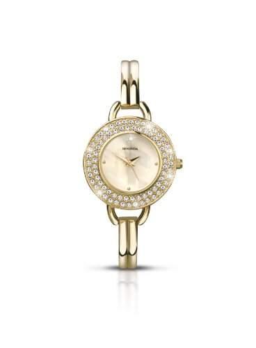 Sekonda Damen-Armbanduhr Analog Quarz Perlmutt-Zifferblatt goldfarbenes Armband 422327