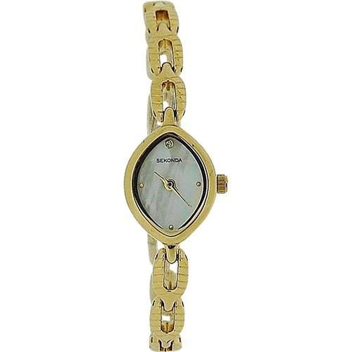 SEKONDA Goldfarbene, analoge Damen Armbanduhr mit Perlmutt Ziffernblatt 4289