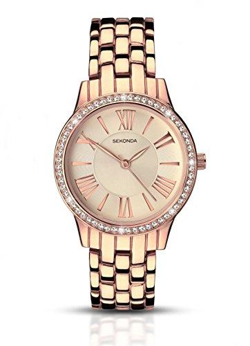 Damen Sekonda Rose Gold Armband Stone Set Bezel Uhr 2400