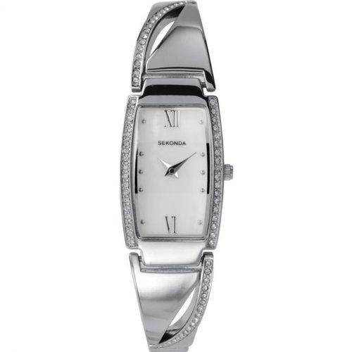 Sekonda 4443 Damen Armbanduhr weisses Ziffernblatt Steinbesatz Edelstahl Armband
