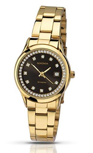 Sekonda Damen Armband Vergoldet Uhr mit Crystal Set schwarz Zifferblatt 2290