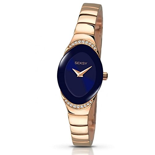 Sekonda Seksy Damen Kleid Armbanduhr Rose Gold Ton Crystal Set Fall Blau Zifferblatt 2306