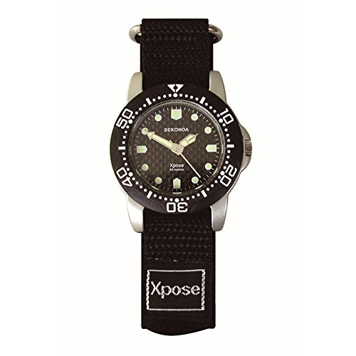 Sekonda Herren Armbanduhr Xpose schwarz Klettverschluss Schutzschale 50 mtr WR 3646