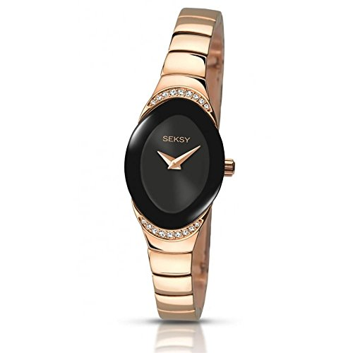 Sekonda Seksy Damen Kleid Armbanduhr Rose Gold Ton Schwarz Zifferblatt Crystal Set Fall 2297