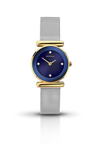Sekonda Stone Set blau Zifferblatt Silber Ton Mesh Armband 2291