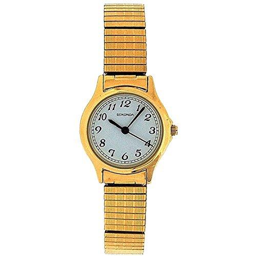 SEKONDA 4134B Analoge Damenarmbanduhr mit weissem Ziffernblatt und vergoldetem Stretch Armband