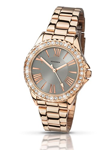 Sekonda Damen Editions Armbanduhr Rose Gold Armband Stone Set Bezel Design 2397
