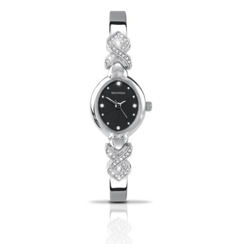 Damen Sekonda Stein Set entworfen schwarz Zifferblatt Verstellbarer Armband Uhr 4552