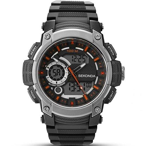 Sekonda Herren Armbanduhr Digitaluhr mit schwarzem Zifferblatt Digital Display und schwarz Kunststoff Gurt 1160 05