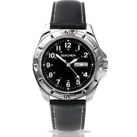 Sekonda Herren schwarzes leder rund edelstahl armbanduhr