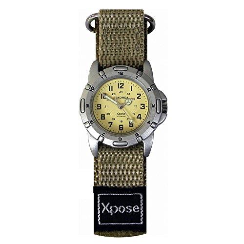 Sekonda XPOSE Velcro Armband Khakifarben wasserdicht bis 50 m WR 3645