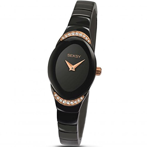 Sekonda Seksy Damen schwarz Kleid Armbanduhr Rose Gold Ton Crystal Set Fall 2298