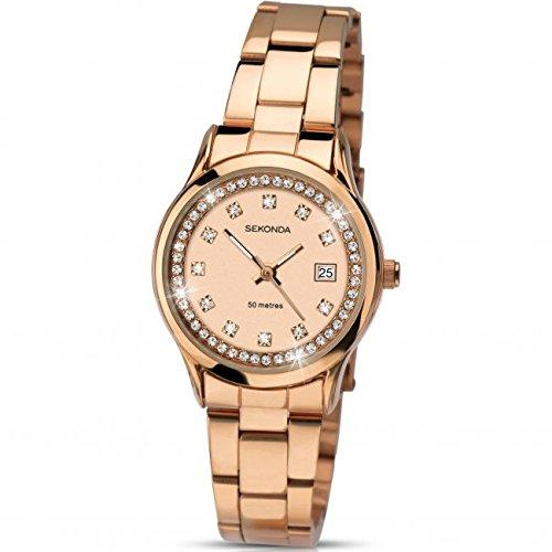 Sekonda Damen Rose Vergoldet Armband Armbanduhr CRYSTAL SET 2304